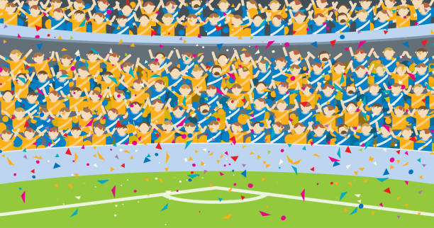 background of people jumping in the grandstands of a stadium dressed in blue and yellow shirts with confetti falling on the soccer field. - alejomiranda stock illustrations