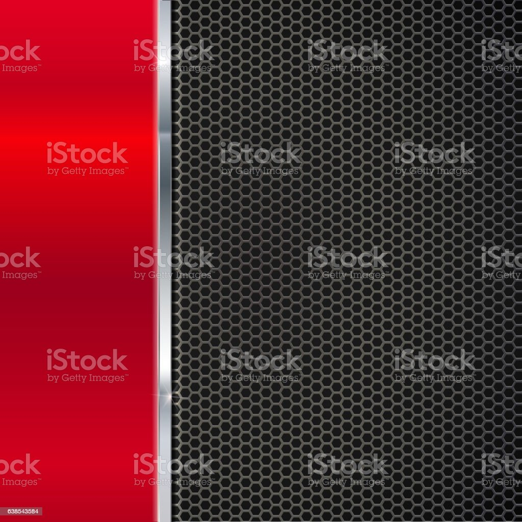Background of polished red metal and black mesh with strip. vector art illustration