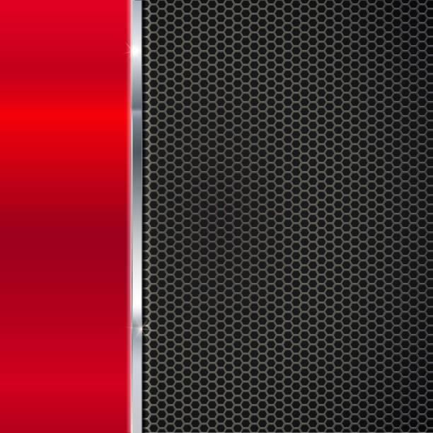 illustrazioni stock, clip art, cartoni animati e icone di tendenza di background of polished red metal and black mesh with strip. - close up auto