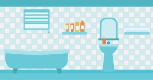 hintergrund der badezimmer - spiegelfliesen stock-grafiken, -clipart, -cartoons und -symbole