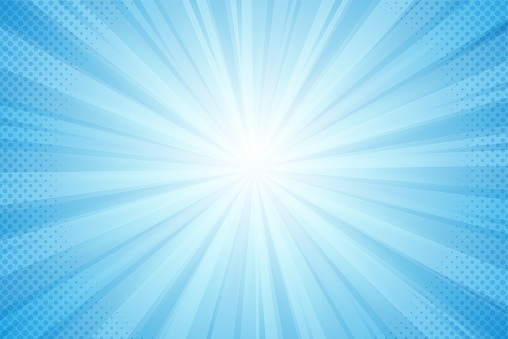 Background of rays from the sun, blue light in a comic style