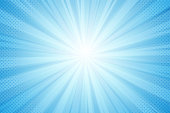 istock Background of rays from the sun, blue light in a comic style 1164707369