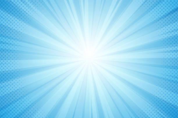 illustrazioni stock, clip art, cartoni animati e icone di tendenza di sfondo di raggi dal sole, luce blu in stile comico - sfondi