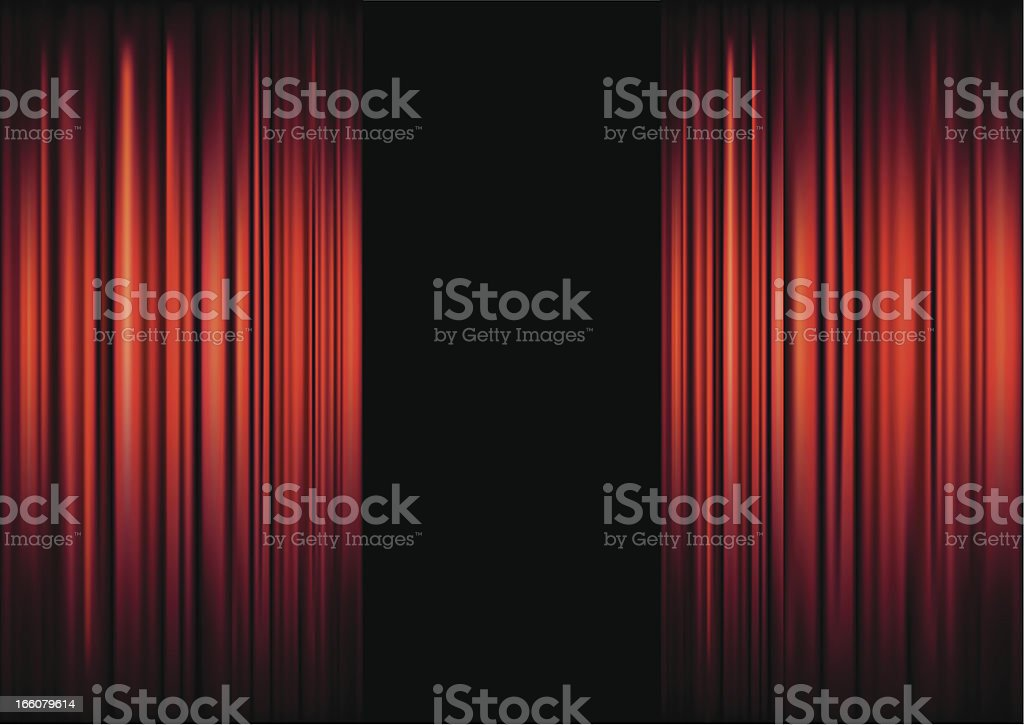 Background of red theater curtains framing black vector art illustration
