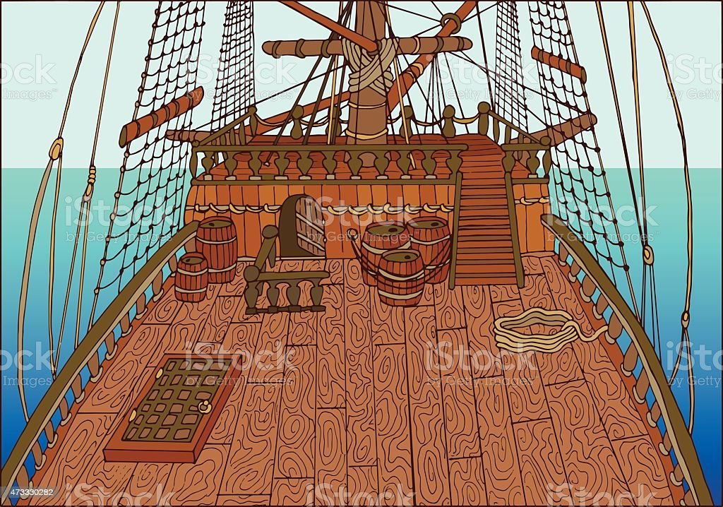 Background of sailing ships deck with sea horizon vector art illustration