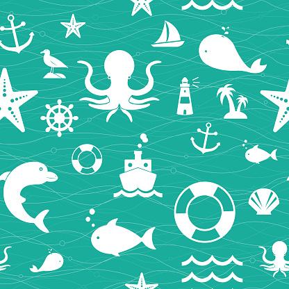 Background of Sea Life Seamless Pattern