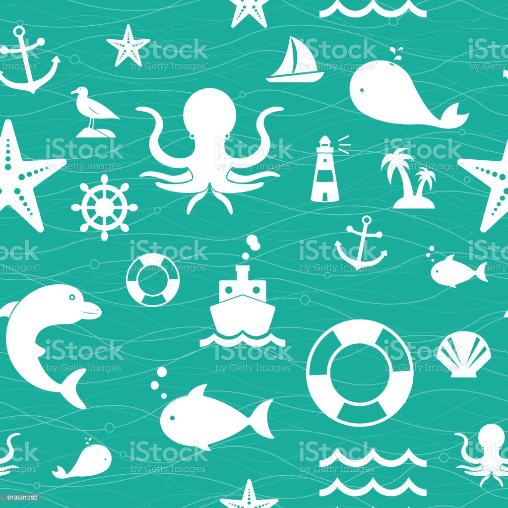 Background of Sea Life Seamless Pattern vector art illustration