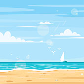 Vector cartoon style background of sea shore. Good sunny day. Square composition.
