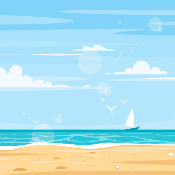 바다 해안의 배경 - beach stock illustrations