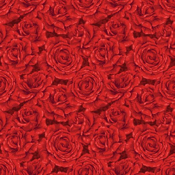 Background of seamless red rose pattern vector art illustration