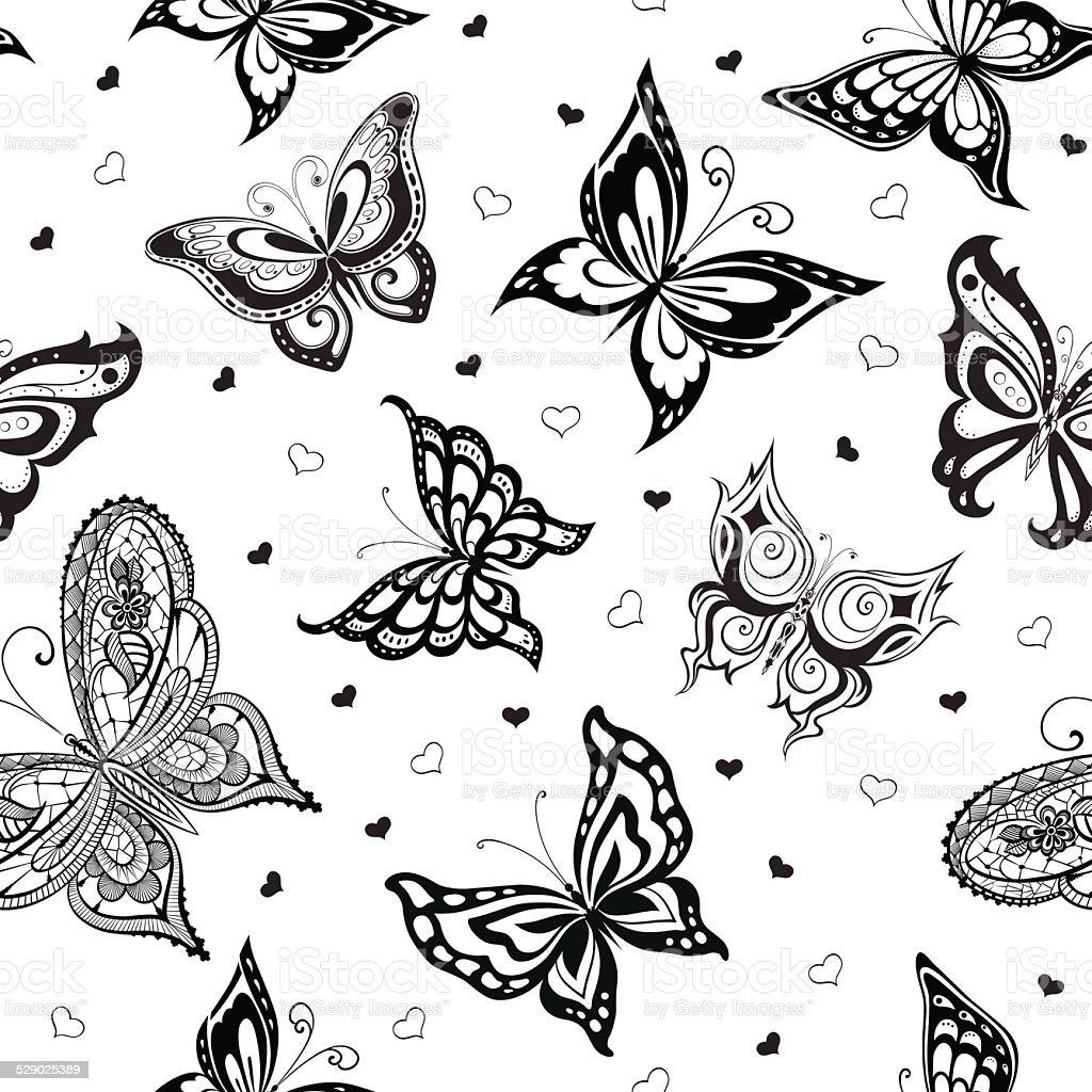 Ilustración de Fondo De Silueta Abstract Mariposas Con Corazones y ...