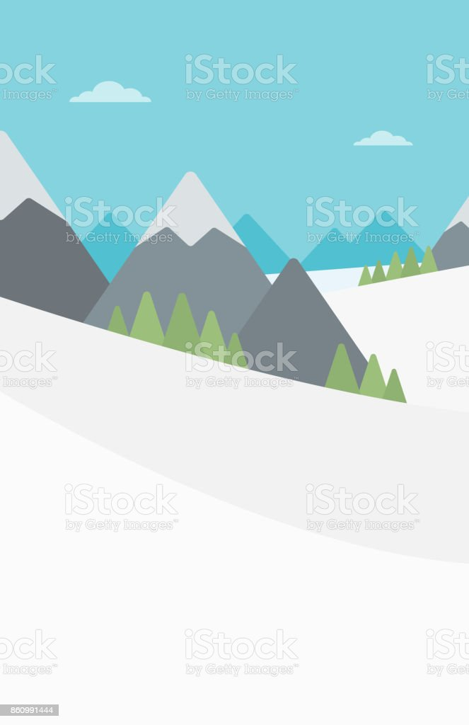 Background of snow capped mountain vector art illustration