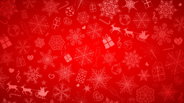 Background of snowflakes and Christmas symbols Christmas background of big and small snowflakes and various Christmas symbols, white on red christmas backgrounds stock illustrations