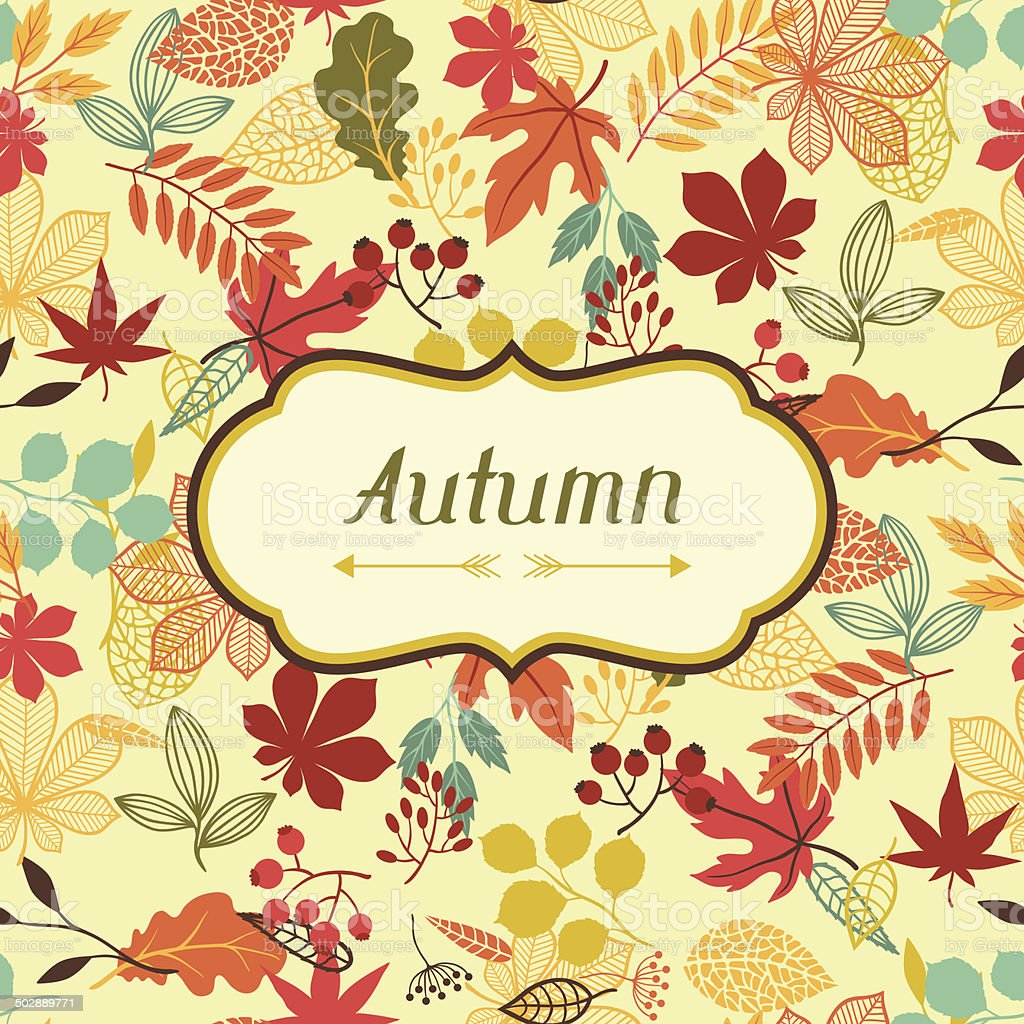 Background of stylized autumn leaves for greeting cards. vector art illustration