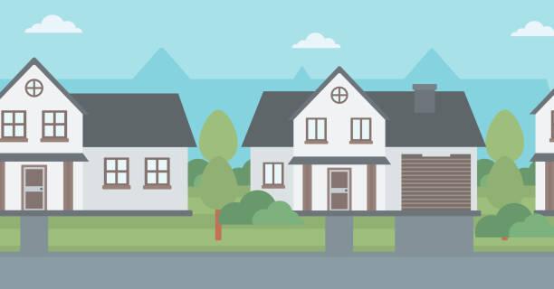 Background of suburban houses Background of suburban houses vector flat design illustration. Horizontal layout. driveway stock illustrations