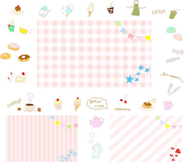 パーティーのためのお菓子やデザートのアイコンの背景 - ランチョンマット点のイラスト素材/クリップアート素材/マンガ素材/アイコン素材