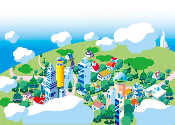 雲の上から見た街の砦の背景 - 町点のイラスト素材/クリップアート素材/マンガ素材/アイコン素材