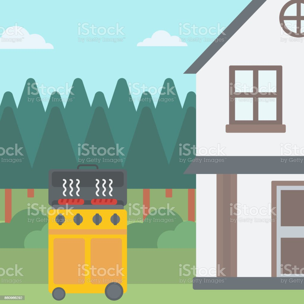 Background of the house with barbecue vector art illustration