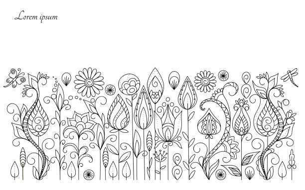 ilustrações, clipart, desenhos animados e ícones de fundo das flores do prado - adulto