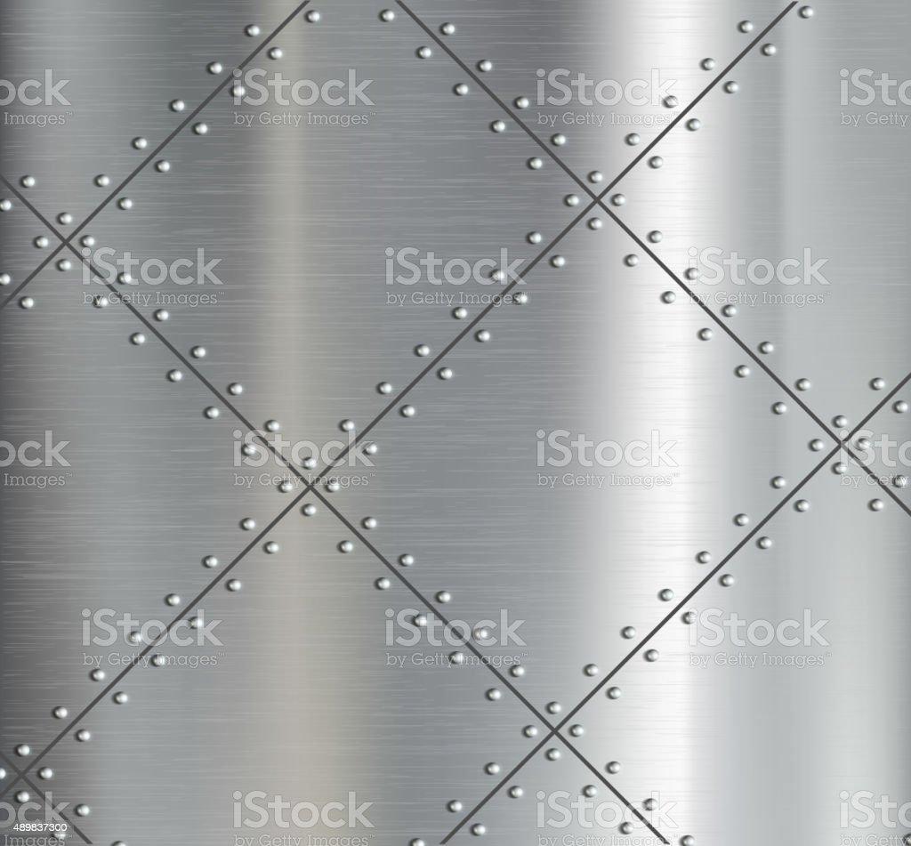 Fundo de espelhos de metal com riveted. - ilustração de arte em vetor