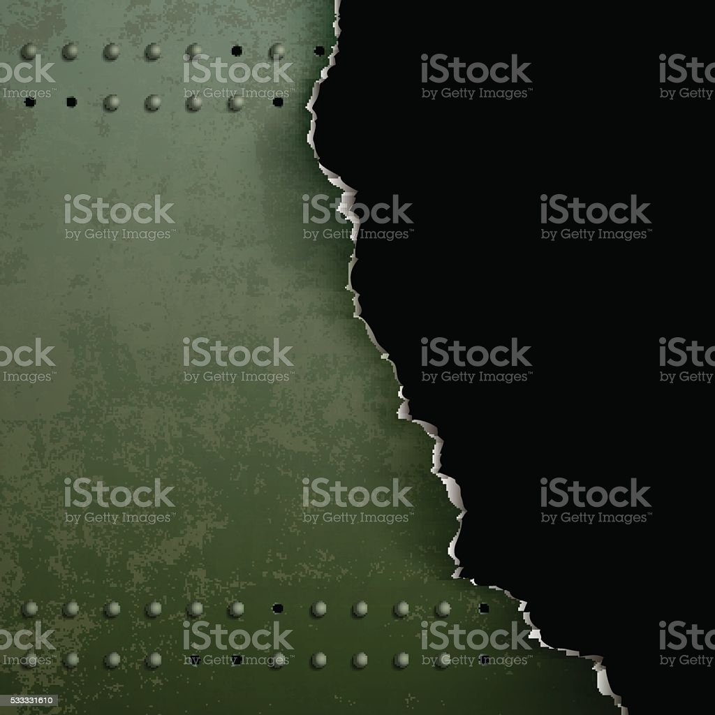 Background of torn metal with rivets. vector art illustration