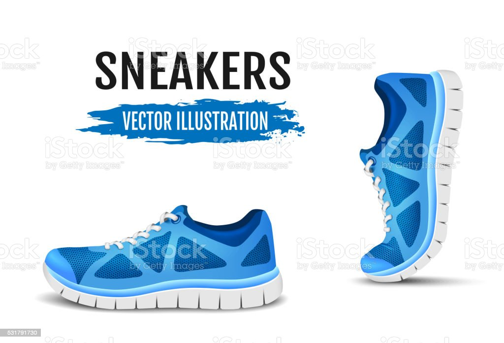 Background of two running shoes. Blue sport shoes for running. vector art illustration