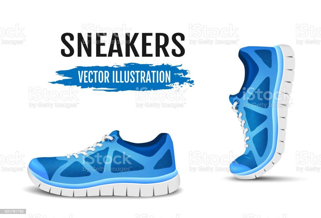 Fundo de dois calçados de corrida. Azul esporte calçado para corrida. - ilustração de arte em vetor
