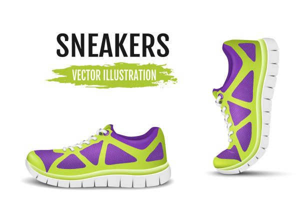 Background of two running shoes. Colorful sport shoes for running – Vektorgrafik