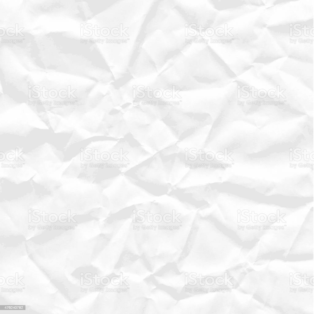 Background of white crumpled paper vector art illustration