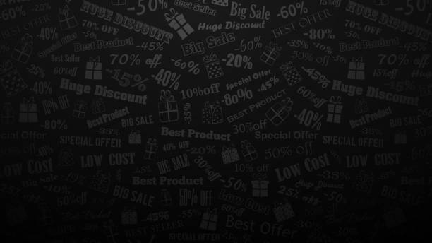 Background on discounts and special offers Background on discounts and special offers, made of inscriptions and gift boxes, in black and gray colors black friday stock illustrations