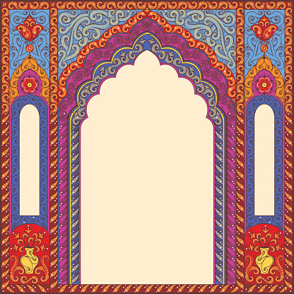 Background ornamented oriental patterned arch.