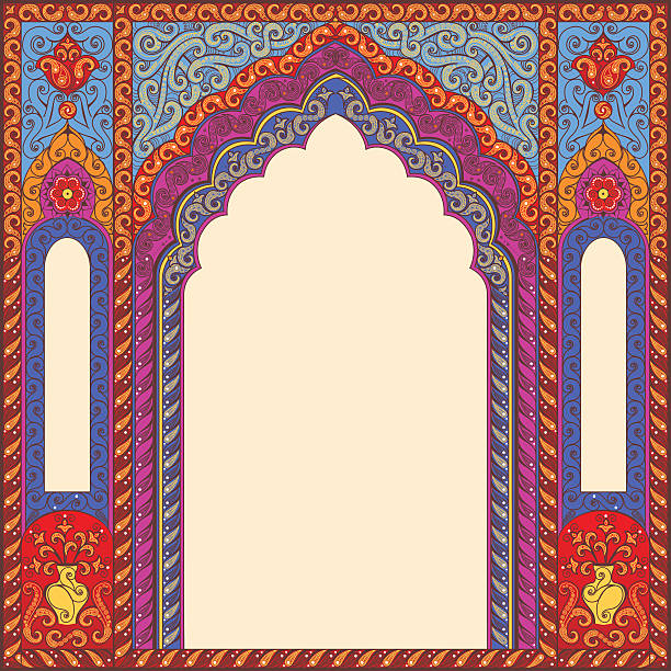 background ornamented oriental patterned arch. - indian stock illustrations, clip art, cartoons, & icons