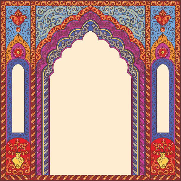stockillustraties, clipart, cartoons en iconen met background ornamented oriental patterned arch. - indiase cultuur