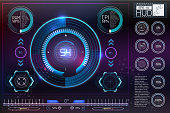 HUD background outer space. Infographic elements.Digital data, business abstract background.