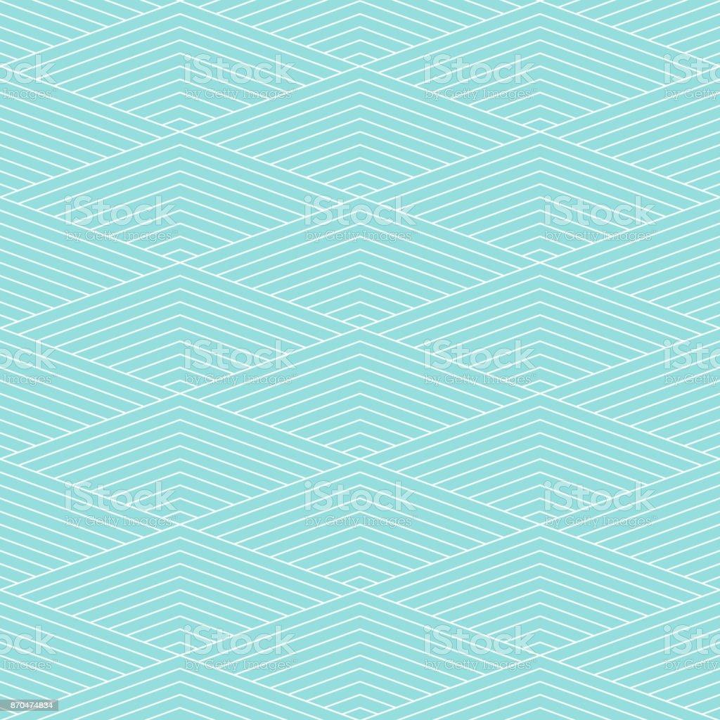 Plano de fundo padrão chevron listra vetor sem costura textura verde aqua cor pastel e linha branca. Papel de parede cenário chevron listrado Resumo retrô estilizado. Forma geométrica do design gráfico. - ilustração de arte em vetor