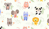 Background pattern of cute little animals with lion, panda, mouse, dog, bear on a white background with leaves, vector illustration