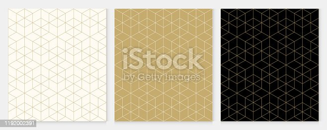 istock Background pattern seamless geometric line abstract gold luxury color vector. Christmas background. 1192002391
