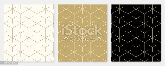 istock Background pattern seamless geometric line abstract gold luxury color vector. Christmas background. 1194019007