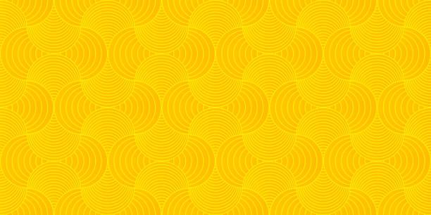 배경 패턴 원활한 기하학적 웨이브 추상 오렌지와 노란색 색상 벡터입니다. 여름 배경 디자인입니다. - 노랑 stock illustrations