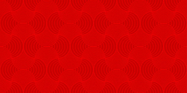 background pattern seamless red luxury round rectangle circle abstract vector design. chinese new year background. - chinese new year stock illustrations