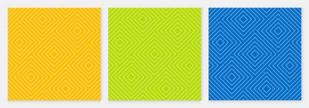 bildbanksillustrationer, clip art samt tecknat material och ikoner med bakgrund mönster sömlös fyrkantig abstrakt färgglada geometriska vektorn. sommaren bakgrundsdesign. - gul bakgrund