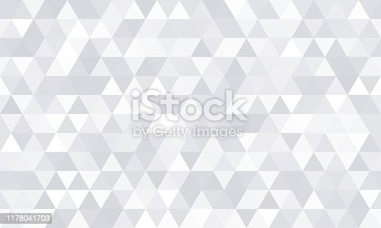 istock Background pattern, white geometric abstract polygon shape. Vector modern gray minimal mosaic tile, triangular diamond line, backdrop flat background design 1178041703