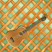 background pattern with crossed planks and guitar