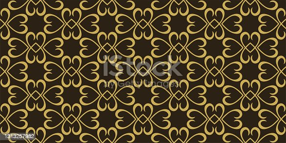istock Background pattern with gold floral ornament on a black background. Seamless pattern, texture 1313257982