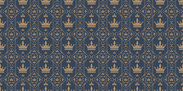 Background pattern with royal ornament on a dark blue background, wallpaper, vintage style. Seamless pattern, texture for your design. Vector graphics