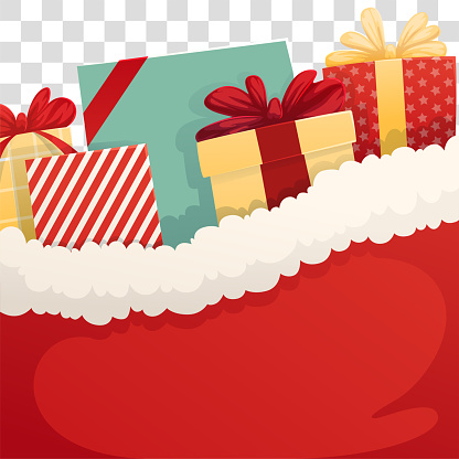Background santa sack with christmas gifts on a transparent background. Vector illustration. Web banner