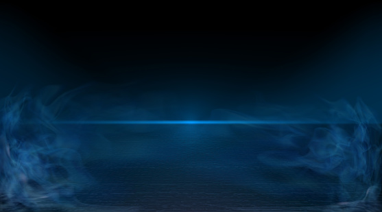 Background scene. Night view of the glowing horizon, clear night sky without stars and clouds, reflection of light on the surface of cracked earth. Smoke fog. The road to the horizon. Vector.