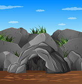 Background scene with cave and blue sky illustration