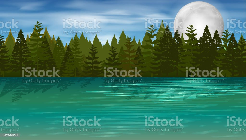 Background scene with pine trees by the lake vector art illustration