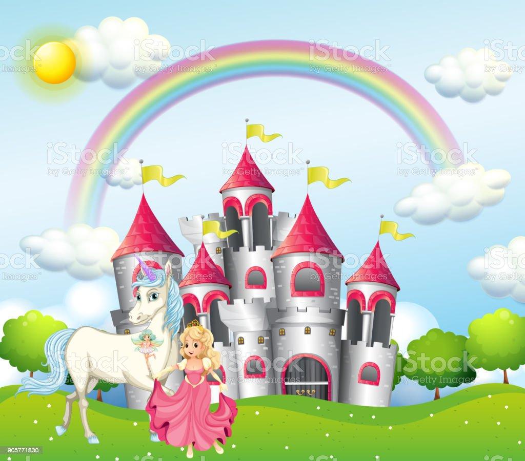 Hintergrundszene Prinzessin mit Einhorn Rosa Schloss – Vektorgrafik